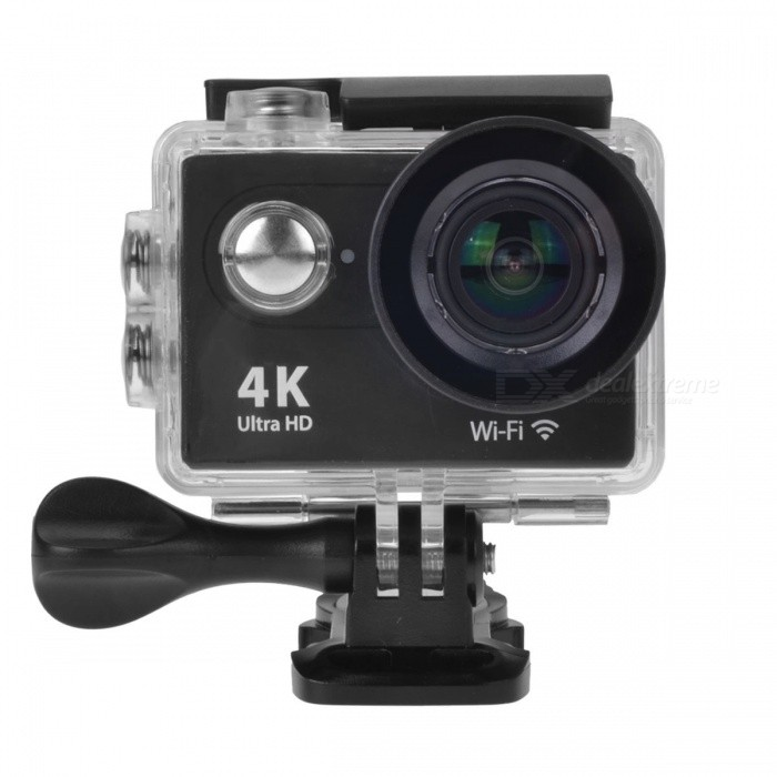 H9 2 12MP 4K Wi-Fi Action Camera w/ Fish-eye Lens - BlackSport Cameras<br>Form  ColorBlackShade Of ColorBlackMaterialABSQuantity1 pieceImage SensorCMOSImage Sensor Size2/3 inchesAnti-ShakeYesFocal DistanceNo cmFocusing RangeNoOptical ZoomNoDigital ZoomOthers,-Built-in SpeedliteNoSpeedlite RangeNoApertureNoAperture RangeNoWide Angle6G HD 170° Ultra-wide Fish-eye LensEffective Pixels12.0 MPImagesJPGStill Image Resolution12M / 8M / 5M / 4MVideoMOVVideo Resolution4k @25fps; 2.7k @30fps; 1920*1088 @60/30 fps; 720p @120fpsVideo Frame Rate25,30,60,120Audio SystemStereoCycle RecordYesISONoExposure Compensation-2;-1.7;-1.3;-1;-0.7;-0.3;0;+0.3;+0.7;+1;+1.3;+1.7;+2.0Scene ModeAutoWhite Balance ModeAutoSupports Card TypeTFSupports Max. Capacity32 GBBuilt-in Memory / RAMNoOutput InterfaceMicro USB,Micro HDMILCD ScreenYesScreen TypeTFTScreen Size2 inchesBattery Measured Capacity 1050 mAhNominal Capacity1050 mAhBattery TypeLi-ion batteryBattery included or notYesBattery Quantity1 pieceVoltage3.7 VBattery Charging TimeAbout 3 hoursLow Battery AlertsYesWater ResistantWater Resistant 3 ATM or 30 m. Suitable for everyday use. Splash/rain resistant. Not suitable for showering, bathing, swimming, snorkelling, water related work and fishing.Supported LanguagesEnglish,Traditional Chinese,Russian,Portuguese,Spanish,Italian,Korean,French,German,Others,Dutch, Polski, Japanese, ThaiCertificationCEPacking List1 x Wi-Fi Sports camera1 x Waterproof housing1 x Protective back case1 x Handle bar / pole mount2 x Helmet bases 1 x Mount A1 x Mount B1 x Mount C1 x Mount D1 x Mount E1 x Mount F1 x Mount G1 x Clip A1 x Clip B2 x Bandages (36cm)  2 x Velcro straps (20cm)2 x Adhesive tapes4 x Cable ties1 x Lens cloth1 x Charger (EU plug; Input: 100~240V; Output: 5V, 1A)1 x USB Cable (60cm)1 x Li-ion Battery (3.7V, 900mAh)1 x English user manual<br>