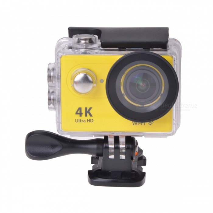 EOSCN H9 2 12MP 4K Wi-Fi Action Camera w/ Fish-eye Lens - YellowSport Cameras<br>Form ColorYellowShade Of ColorYellowMaterialABSQuantity1 DX.PCM.Model.AttributeModel.UnitImage SensorCMOSImage Sensor Size2/3 inchesAnti-ShakeYesFocal DistanceNo DX.PCM.Model.AttributeModel.UnitFocusing RangeNoOptical ZoomNoDigital ZoomOthersBuilt-in SpeedliteNoSpeedlite RangeNoApertureNoAperture RangeNoWide Angle6G HD 170° Ultra-wide Fish-eye LensEffective Pixels12.0 MPImagesJPGStill Image Resolution12M / 8M / 5M / 4MVideoMOVVideo Resolution4k @25fps; 2.7k @30fps; 1920*1080 pixels @60/30 fpsVideo Frame Rate15,30,60,Others,10Audio SystemStereoCycle RecordYesISONoExposure Compensation-2;-1.7;-1.3;-1;-0.7;-0.3;0;+0.3;+0.7;+1;+1.3;+1.7;+2.0Scene ModeAutoWhite Balance ModeAutoSupports Card TypeTFSupports Max. Capacity32 DX.PCM.Model.AttributeModel.UnitBuilt-in Memory / RAMNoOutput InterfaceMicro USB,Micro HDMILCD ScreenYesScreen TypeTFTScreen Size2 DX.PCM.Model.AttributeModel.UnitBattery Measured Capacity 1050 DX.PCM.Model.AttributeModel.UnitNominal Capacity1050 DX.PCM.Model.AttributeModel.UnitBattery TypeLi-ion batteryBattery included or notYesBattery Quantity1 DX.PCM.Model.AttributeModel.UnitVoltage3.7 DX.PCM.Model.AttributeModel.UnitBattery Charging TimeAbout 3 hoursLow Battery AlertsYesWater ResistantWater Resistant 3 ATM or 30 m. Suitable for everyday use. Splash/rain resistant. Not suitable for showering, bathing, swimming, snorkelling, water related work and fishing.Supported LanguagesEnglish,Traditional Chinese,Russian,Portuguese,Spanish,Italian,Korean,French,German,Others,Dutch, Polski, Japanese, ThaiCertificationCEPacking List1 x Wi-Fi Sports camera1 x Waterproof housing1 x Protective back case1 x Handle bar / pole mount2 x Helmet bases 1 x Mount A1 x Mount B1 x Mount C1 x Mount D1 x Mount E1 x Mount F1 x Mount G1 x Clip A1 x Clip B2 x Bandages (36cm)  2 x Velcro straps (20cm)2 x Adhesive tapes4 x Cable ties1 x Lens cloth1 x Charger (EU plug; Input: 100~240V; Output: 5V, 1A)1 x USB Cable (60cm)1 x Li-ion Battery (3.7V, 900mAh)1 x English user manual<br>