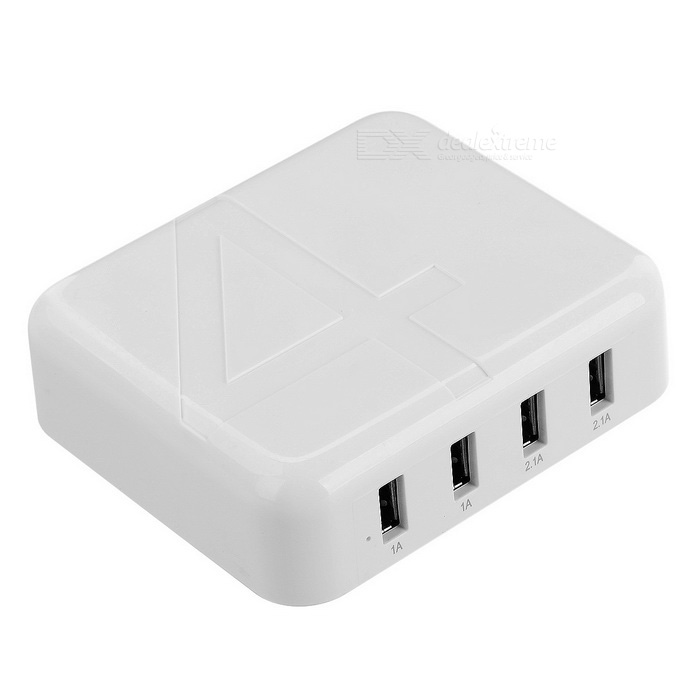 Universal 30W 5V / 6A High-Speed 4-USB 2.0 Charger - White (EU Plug)