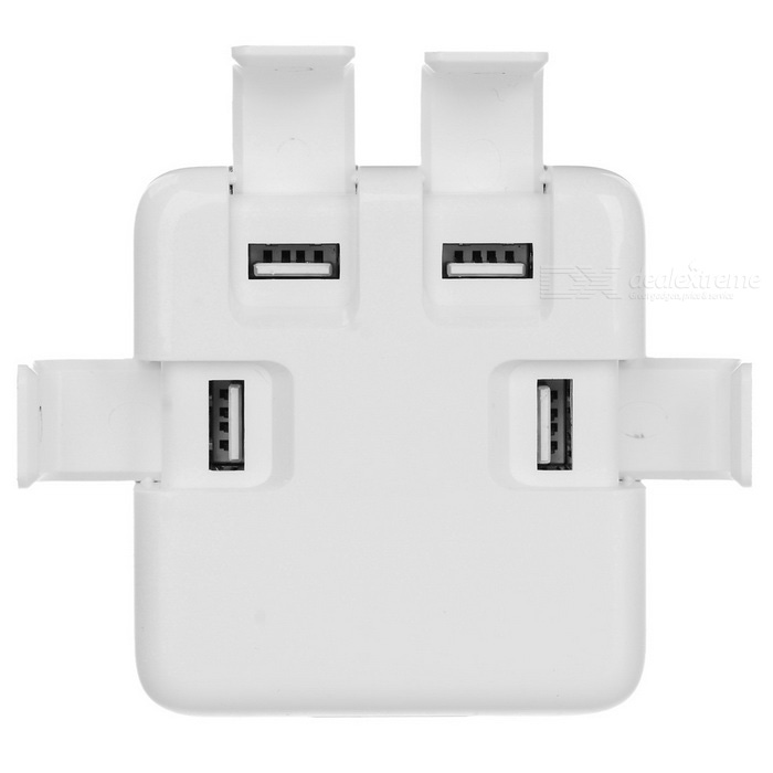 40W 5V / 8A 4-USB Charger w/ Cover for Phone + More - White (US Plugs)