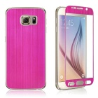 Wiredrawing Tempered Glass Screen Protector + Back Guard Set for Samsung Galaxy S6 G920 - Deep Pink