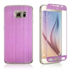 Wiredrawing Titanium Alloy Tempered Glass Film for Samsung S6 - Purple