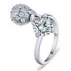 Classical Lotus Core Style Crystal Ring - Silver (US Size 8)