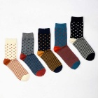 Men's Striped & Polka Dot Socks (Size 40~44 / 5 Pairs)