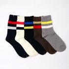 Men's Striped Casual Socks (Size 40~45 / 5 Pairs)