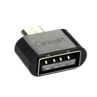 Micro USB to USB OTG Adapters for Android Phone / MID - Black (3PCS)
