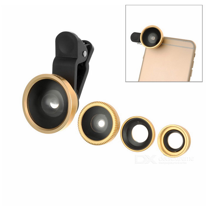 Clip-on 0.4X + 0.67X Wide Angles+ Fish Eye+ Macro Camera Lens - Golden