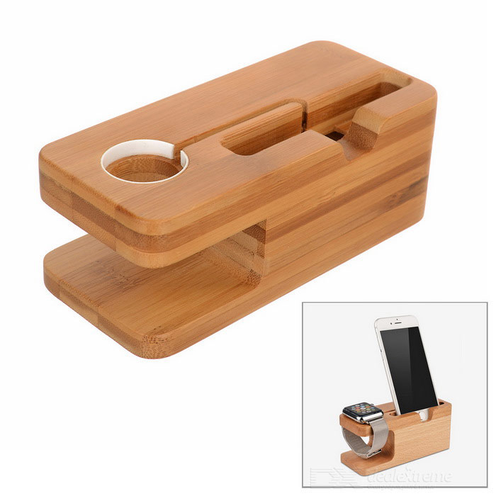 S-what 2-In-1 Wood Mount Holder for IPHONE / APPLE WATCH - Brown