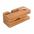 S-what Soporte de madera 2-en-1 para IPHONE / APPLE WATCH - marrón
