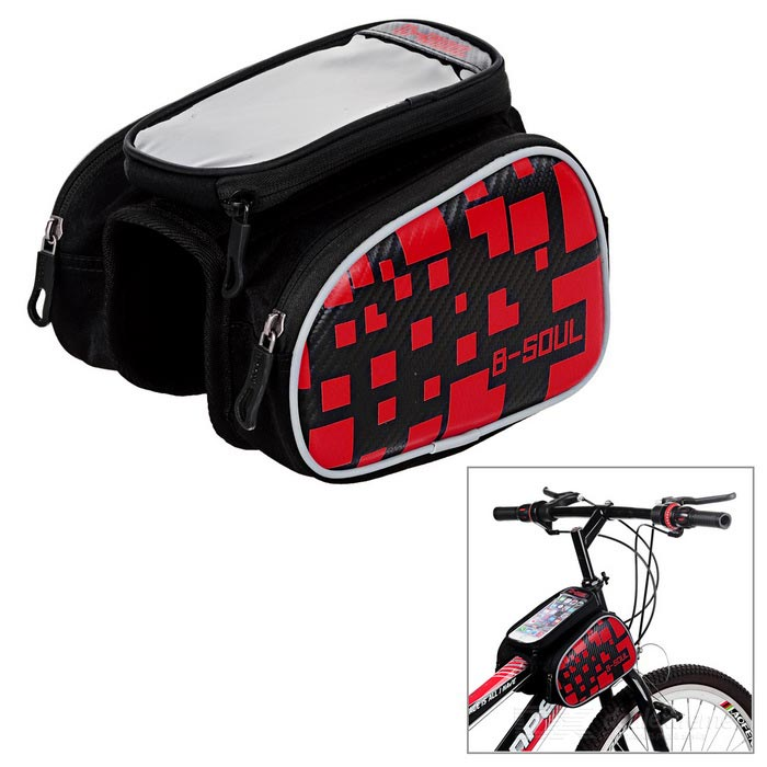 "B-SOUL Bike Tube Saddle Bag w/ Touch Screen for 5.5"" Phone - Red"