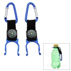 Outdoor Mountaineering Carabiner + Compass + Bottle Holder - Blue + Black (2 PCS)