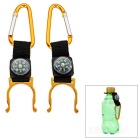 Outdoor Mountaineering Carabiner + Compass + Bottle Holder - Gold + Black (2 PCS)