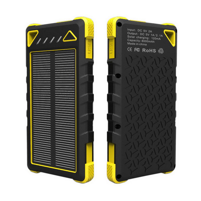 8000mAh banco de energía solar 2-USB para IPHONE 6/6 PLUS + más - amarillo