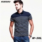 KUEGOU Men's stripe pattern short-sleeve Polo Shirt