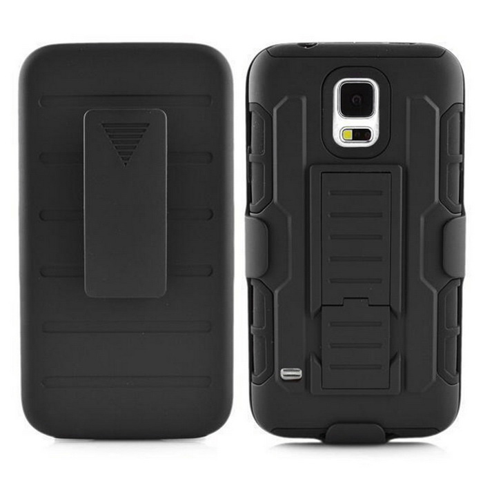 Rugged Armor Case w/ Belt Clip/ Stand for Samsung S5 G9106 - Black
