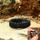 Outdoor survival multi-purpose conjunto de pulseira paracord - preto