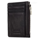 JIN BAO LAI Men's Fashionable Zippered Leather Mini Cards Holder Wallet Purse - Coffee