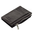 JIN BAO LAI Men's Zippered Leather Cards Holder Wallet Purse - Coffee