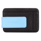 JIN BAO LAI Men's Leather Magnetic Cash Clip Wallet - Black + Sky Blue