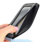 JIN BAO LAI Men's Leather Magnetic Cash Clip Wallet - Black + Blue