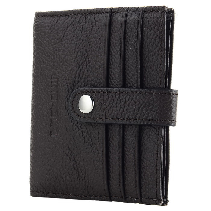 JIN BAO LAI Litchi Pattern Leather Hasp Cards Holder - Dark Coffee