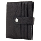 JIN BAO LAI Fashion Litchi Pattern Leather Hasp Cards Holder Organizer - Dark Coffee