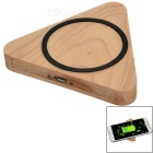 S-What Universal Triangular Qi Wireless Wooden Charger - Wood Color