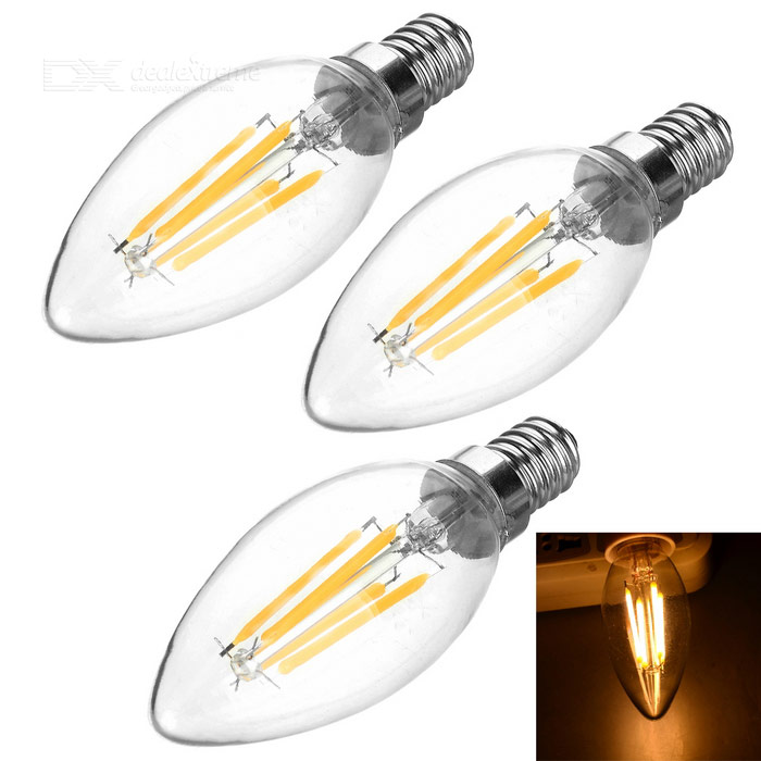 JRLED E14 4W 4-COB LED Filament Bulbs Warm White Light 3000K (3PCS)
