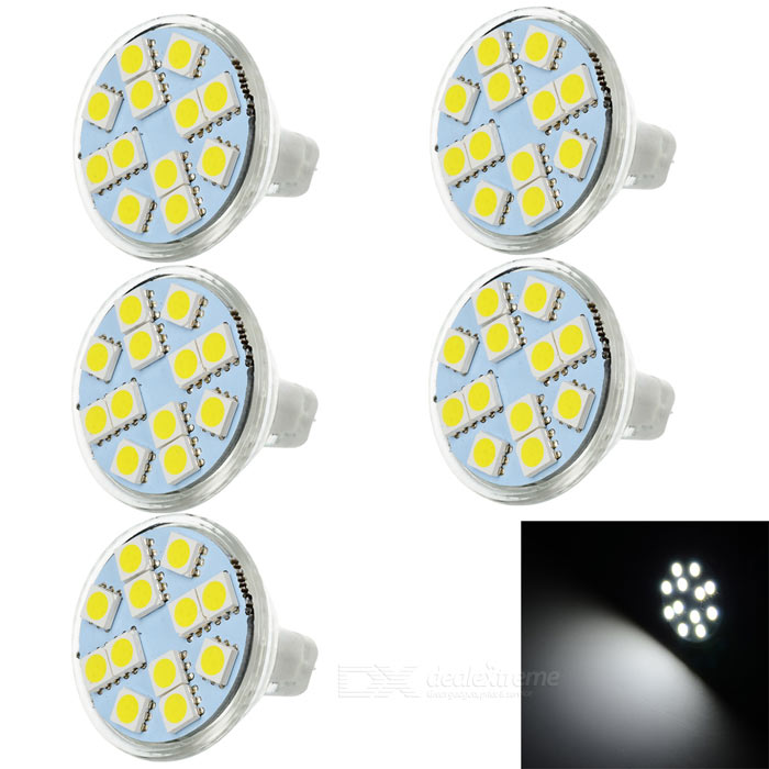JRLED MR11 3W LED Cup Lamps Cold White 6829K 150lm 12-5050 SMD (5PCS)Other Connector Bulbs<br>Form  ColorWhite + Yellow + Multi-ColoredColor BINCold WhiteMaterialQuartz glass + LEDQuantity5 DX.PCM.Model.AttributeModel.UnitPower3W,3WRated VoltageDC 12 DX.PCM.Model.AttributeModel.UnitConnector TypeMR11Chip BrandOthers,N/AChip Type5050 SMDEmitter Type5050 SMD LEDTotal Emitters12Theoretical Lumens160 DX.PCM.Model.AttributeModel.UnitActual Lumens80~150 DX.PCM.Model.AttributeModel.UnitColor Temperature12000K,Others,6829KDimmableNoBeam Angle180 DX.PCM.Model.AttributeModel.UnitOther FeaturesCompact but bright; Provide lighting for home, office, hotel, bar and KTV, etc.Packing List5 x Lights<br>