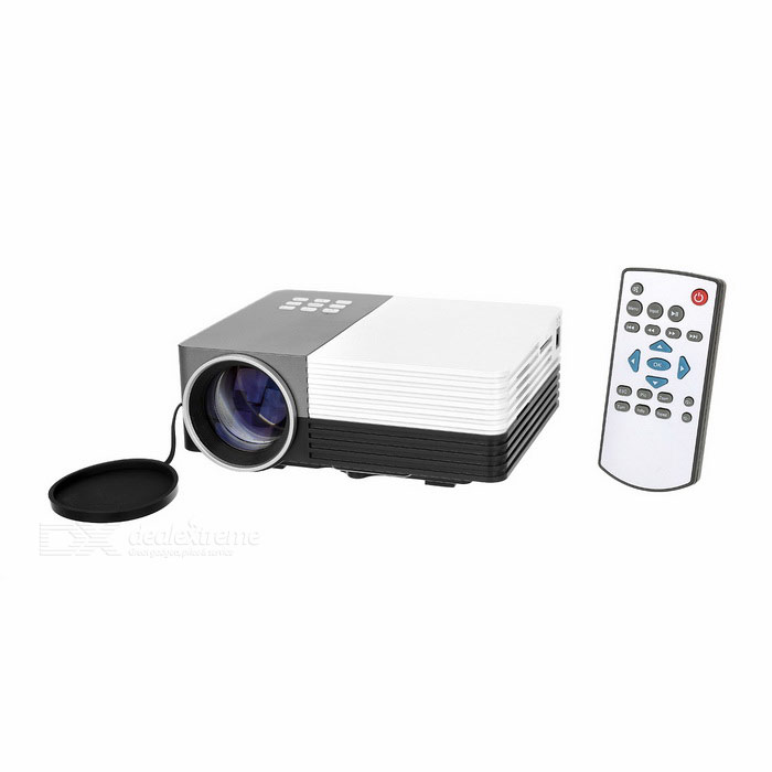 GM50 1080P Mini LED Home Theater Projector w/ HDMI, SD - White + BlackProjectors<br>Form  ColorWhite + Black + Multi-ColoredBrandOthers,N/AModelGM50Quantity1 DX.PCM.Model.AttributeModel.UnitMaterialABSShade Of ColorWhiteOperating SystemNoTypeLCDBrightnessUnder 1000 lumensBrightness150 DX.PCM.Model.AttributeModel.UnitMenu LanguageEnglish,Chinese SimplifiedBuilt-in SpeakersYesLife Span20,000 DX.PCM.Model.AttributeModel.UnitEmitter BINLEDDisplay Size30~200Aspect RatioOthers,16:9/4:3Contrast Ratio500:1Maximum Resolution1080PMaximum Resolution1920 x 1080Throw Distance1-3.8mBuilt-in Memory / RAMNoStorageNoExternal MemorySD card / 32GBAudio FormatsMP3,WMA,APE,FLAC,OGG,AACVideo FormatsRM,RMVB,AVI,MOV,MP4,FLV,H.264,MPEG1,MPEG2,MPEG4Picture FormatsJPEG,BMP,PNGInput ConnectorsAVInput ConnectorsAV/VGA/USB/SD/HDMIOutput Connectors3.5mm audio interfacePower Consumption20~39WPower Consumption30WPower Supply100~240VPower AdapterUS PlugsPacking List1 x HD Projector1 x Remote control (2 x AAA battery not included )1 x AV Video cable (16+/-2cm)1 x Chinese / English user manual1 x Power adapter (116+/-2cm)<br>