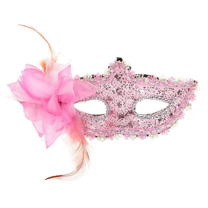 Masquerades Party Lace Feather Half Face Mask w/ Flower - Pink