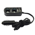 Jtron DC 12V 3.1A Dual USB Cigarette Extend Car Charger - Black