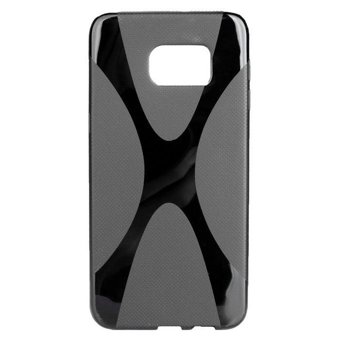 """X"" Pattern Non-Slip TPU Back Case for Samsung S6 Edge Plus - Black"