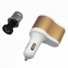 Car Cigarette Lighter + 2-USB Charger w/ Cigarette Hole - White + Gold