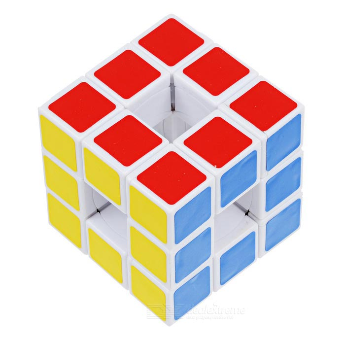 3*3*3 Hollow Magic IQ Cube - White + Multicolor