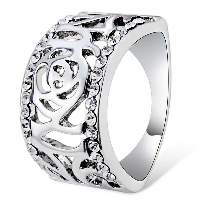 Xinguang holle-out crystal rose ring - zilver (us 8)