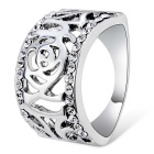 Hollow-Out Crystal Rose Ring - Silver (US Size 8)