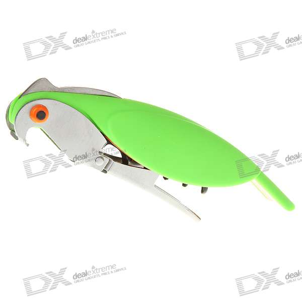 Bird Shaped Folding Stainless Steel Bottle/Wine Opener with Serrated Cutting Knife (Light Green)