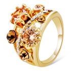 Sun Flower Design Crystal Ring for Women - Golden (US Size 8)