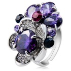 Overlapping Flower Crystal Opening Ring