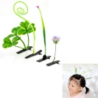 Cute Lucky Clover Intelligent Croll Grass Style Sprout Hair Clips Set (4PCS)