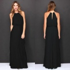 Women's Fashion Sexy Halter Sleeveless Chiffon Long Maxi Dress - Black (M)