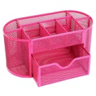 Creative Metal Wire Mesh 9-Compartment Drawer Penholder Pen Holder - Deep Pink