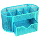 Creative Metal Wire Mesh 9-Compartment Drawer Penholder Pen Holder - Blue