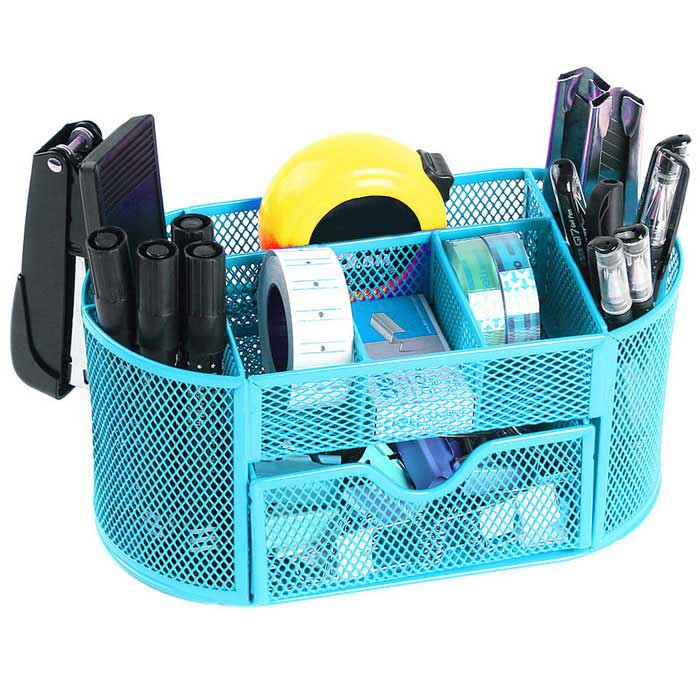 Creative Metal Wire Mesh 9-Compartment Drawer Penholder Pen Holder ...