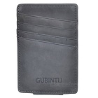 Men's Multifunctional Retro Genuine Leather Card Holder Money Cash Clip Mini Wallet - Grey