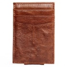 Men's Multi-functional Top Layer Cowhide Card Holder Mini Wallet - Light Coffee