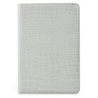 Alligator Pattern Protective Flip-Open PU Leather Full Body Case w/ Stand for IPAD MINI 4 - White