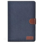 Protective Flip-Open Denim + PU Case w/ Card Slots & Stand for IPAD MINI 4 - Black Blue + Brown