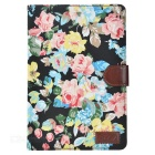 Flower Pattern Protective PU Case for IPAD MINI 4 - Black + Multicolor